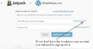 Jetpack WordPress stats plugin sign up