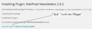 Activate Mailpoet newsletter plugin
