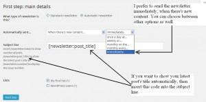 Mailpoet newsletter configuration