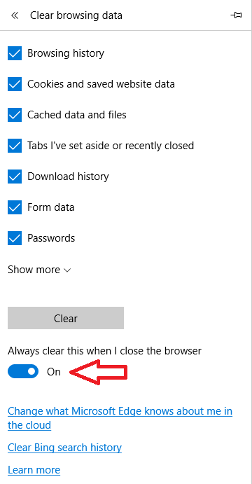 Delete Microsoft Edge history automatically 3