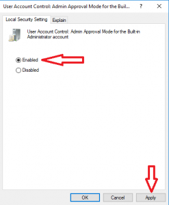 User account control admin approval mode