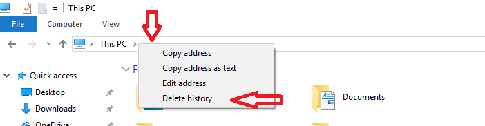clear MS windows 10 explorer history 1