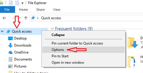 How to clear MS windows 10 explorer history