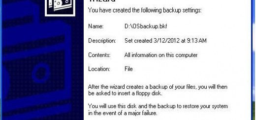 Completing the XP backup and restore wizard
