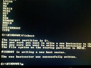 Windows XP recovery console