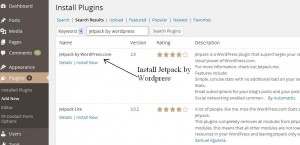 Jetpack WordPress stats installation